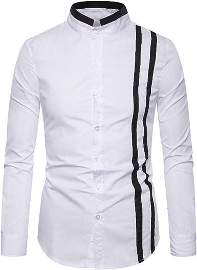 Camisas De Vestir Casual para Hombre, Morbuy Moda Empalme Camisa De Manga Larga Slim Fit con Cuello Abotonado Camisas Color Sólido: Amazon.es: Ropa y accesorios