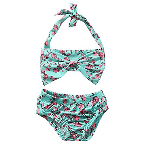 Price comparison product image Baby Little Girls Red Crowned Cranes Print Swimwear Two-pieces Bikini Set (3T(2-3Y),  Green)