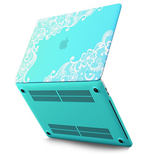 Kuzy - MacBook Pro 13 Case 2017 & 2016, A1706 & A1708 - Rubberized Hard Case (NEWEST Release 2017 & 2016) with/without Touch Bar & Touch ID Shell Cover 13-inch - Lace TEAL BLUE