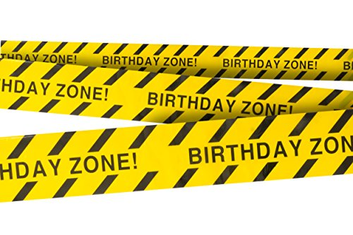 Birthday Zone Party Tape • 3 In. wide X 100 Ft. Long • High Visibility • Tear Resistant Design • Great for Construction-Themed Parties -