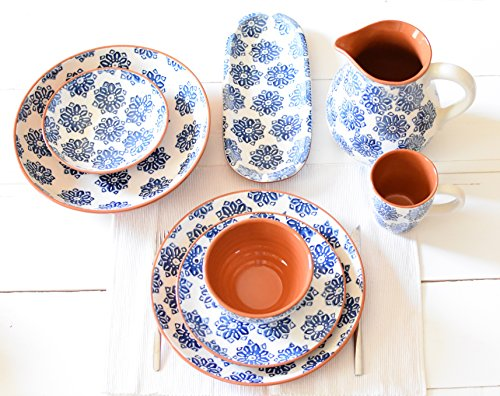 Euro Ceramica Azul Tile Collection 12'' Terra Cotta Snack Tray with 3 3.6'' Dipping/Sauce Bowls, Floral Hand-Painted Design, Blue & White by Euro Ceramica Inc. (Image #3)