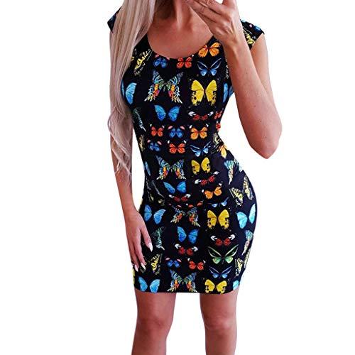 (⚡HebeTop⚡ Vintage Boho Women Summer Sleeveless Beach Printed Short Mini Dress Black)