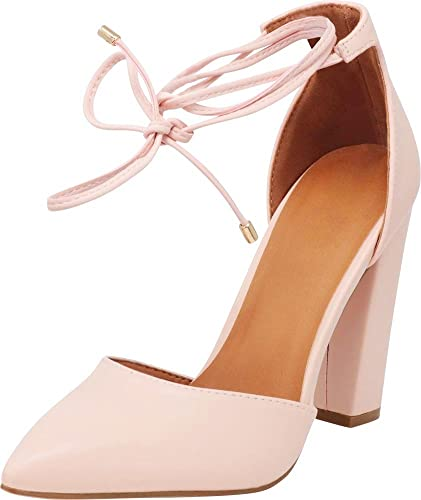 28e30a93c57 Cambridge Select Women s Closed Pointed Toe D Orsay Crisscross Wraparound  Ankle Tie Chunky Block Heel