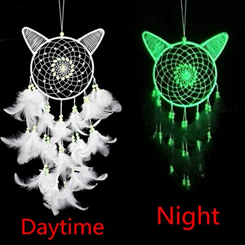 Little Chair Cute Cat Glow in The Dark Handmade Feather Beads Dream Catcher Circular Net Home Room Wall Hanging Decor Party Wedding Ornament