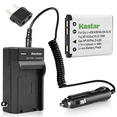 Kastar Battery (1-Pack) and Charger Kit for Nikon EN-EL10 MH-63 work with Nikon Coolpix S60, S80, S200, S210, S220, S230, S500, S510, S520, S570, S600, S700, S3000, S4000, S5100 Cameras