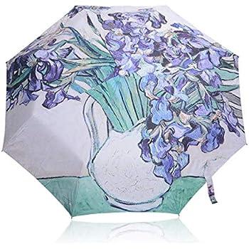 Get Orange Oil Painting 3 Folding Parasol Sun Protection Anti-uv Travel Umbrella (Irises 1)