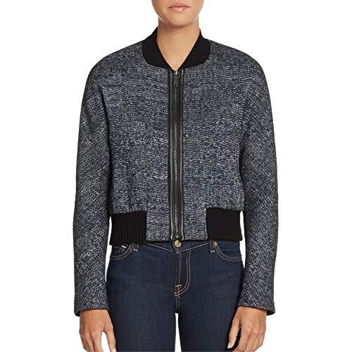 - Elie Tahari Mackenzie Black Tweed Bomber Jacket (XL)