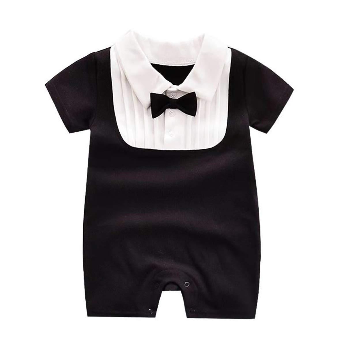 Chennie Baby Neonato Neonato Manica Corta Gentleman Pagliaccetto Outfit Tutina con Papillon