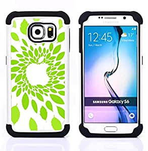BullDog Case - FOR/Samsung Galaxy S6 G9200 / - / Apple Leaf Green Nature /- H??brido Heavy Duty caja del tel??fono protector din??mico - silicona suave