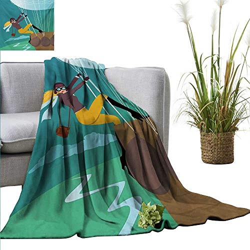 "Faux Fur Throw Blanket Explore,Vintage Cartoon Style Explorer Spy Woman Figure Adventurer on a Hot Air Balloon,Multicolor Reversible Soft Fabric for Couch Sofa Easy Care 60""x78"""