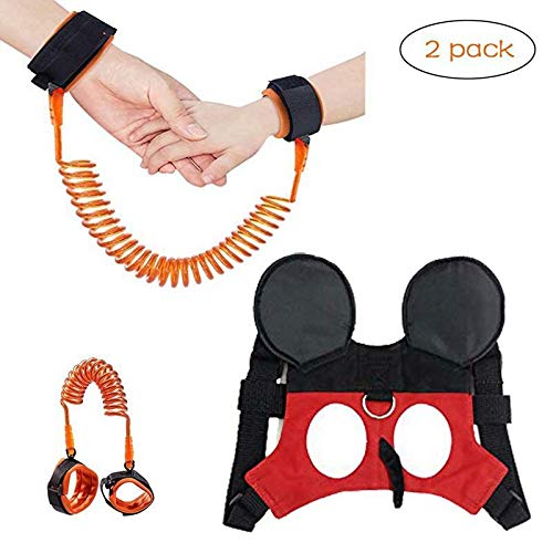 (2 kit) Anti Lost Wrist Link 2 Meters Wrist Leash for Kids & Toddler Harness Anti-Lost Kids Safety Walking Leash for 1-3 Years Kids. Evanagle