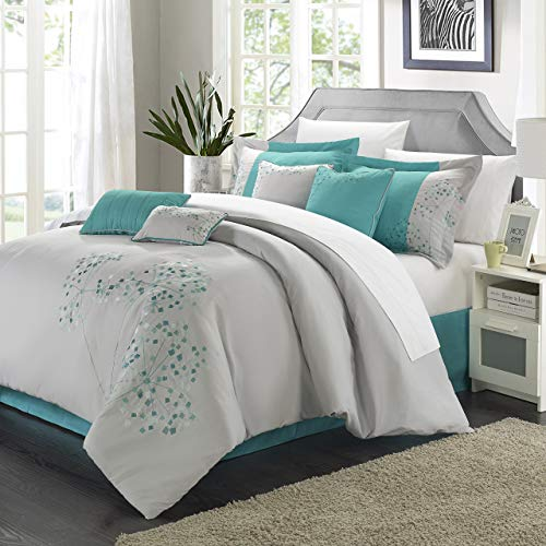 oral Embroidered Comforter Set, Queen, Gray and Blue ()