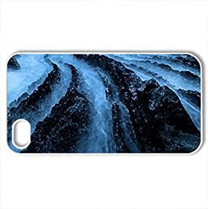 amazing rocky dragon back sea shore - Case Cover for iPhone 4 and 4s (Beaches Series, Watercolor style, White)