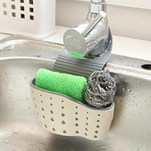(Kitchen Hanging Trash Rack Iusun Suction Cup Sink Shelf Soap Sponge Drain Rack Kitchen Sucker Storage Tool (Beige))