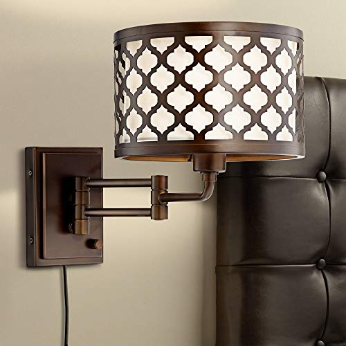 Rissani Oil Rubbed Bronze Double Shade Swing Arm Wall Lamp - Franklin Iron Works