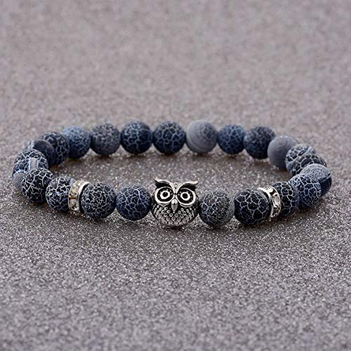 (Werrox Fashion Mens Women s Natural Lava Stone Owl 8MM Beads Charm Bracelets Jewelry | Model BRCLT - 3096 |)
