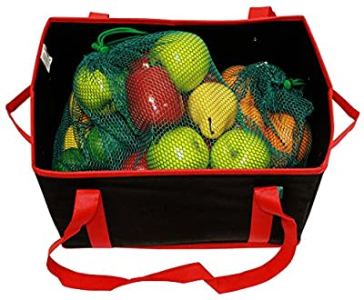 Earthwise Deluxe Collapsible Reusable Shopping Box Grocery Bag Set with Reinforced Bottom Storage Boxes Bins Cubes (Set of 3)