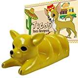 Taco Holder, Ceramic Taco Serving Rack/Stand: Use as Taco Plate or Taco Shell Holder Rack for 3 Tacos or Tortillas. Stand Up Kids Taco Holder for Taco Tuesday, Cinco De Mayo Fiesta Mexican Food Party