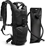 Black Tactical Hydration Pack with 3L Water Bladder Fits Men, Women - Military Style Daypack Backpack for Hiking, Running, Camping, Biking, Cycling, Walking, & All Outdoor Activities