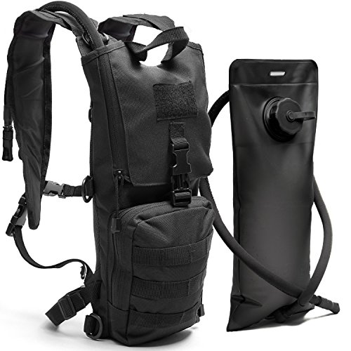 Golite Mens Backpack (Black Tactical Hydration Pack with 3L Water Bladder Fits Men, Women - Military Style Daypack Backpack for Hiking, Running, Camping, Biking, Cycling, Walking, & All Outdoor Activities)