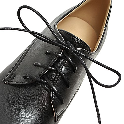 Odomolor Women's Round-Toe Lace-up PU Solid Kitten-Heels Pumps-Shoes Black oLzGiPgeV