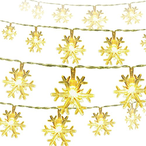Snowflake String Lights CFTech 16 ft 40 LED Fairy Lights Battery Operated Waterproof for Xmas Garden Patio Bedroom Party Decor Indoor Outdoor Celebration Lighting, Warm White (5M 40 Lights)
