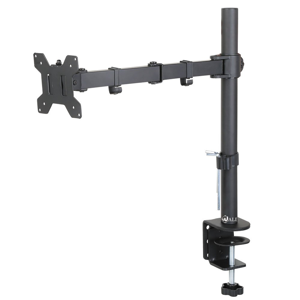 """WALI Single LCD Monitor Desk Mount Fully Adjustable Stand Fits One Screen up to 27"""", 22 lbs. Weight Capacity (M001), Black"""