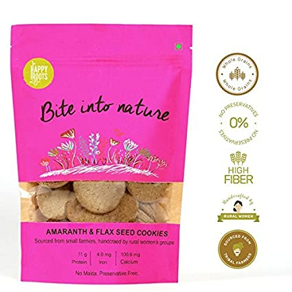 Happy Roots Amaranth Rajgira and Flax Seed Baked Cookie with Fresh Coconut  - 125 g