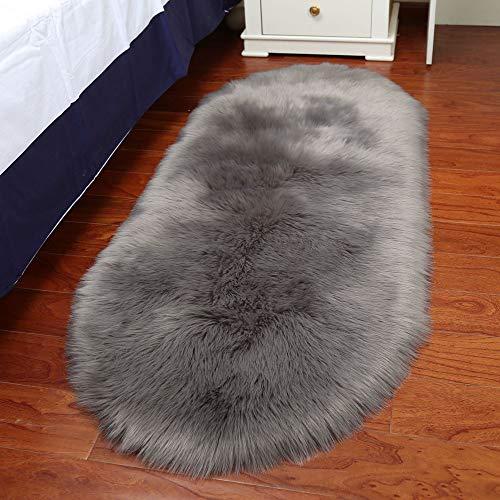 Gotian Rug Non Slip Wool Imitation Sheepskin Hallway Bedroom Rug, Soft, Fluffy Rug Runner Furry Rug Bath Shaggy Carpet Mat - for Bedroom Floor Sofa Living Room Home Decor (L: 60x100cm Gray)