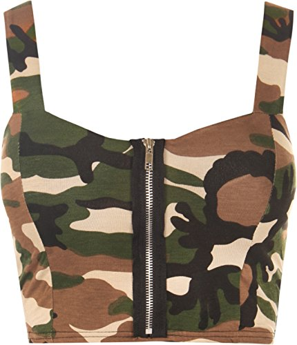 WearAll Women's Camo Padded Bra Ladies Sleevless Strappy Crop Bralet Top - Green - US 8-10 (UK 12-14) (Army Camo Bra)