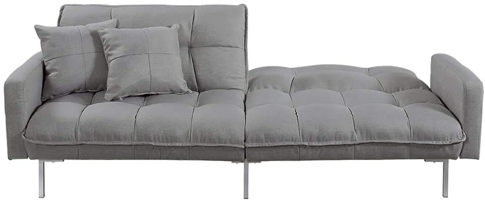 Small Divano Roma Furniture Collection Modern Plush Tufted Linen Fabric Splitback Living Room Sleeper Futon Dark Grey
