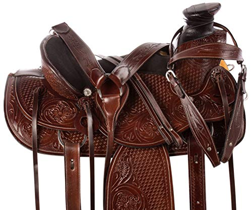 "AceRugs 14"" 15"" 16"" Premium Heavy Duty Wade Tree Roping Ranch Work Cowboy Western Leather Horse Saddle TACK Package (15)"