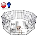 "ZuHucpts Foldable Metal Dog Exercise Pen/Pet Puppy Playpen with Door | Free Bonus Pet Grooming Glove(24"" H, Black)"