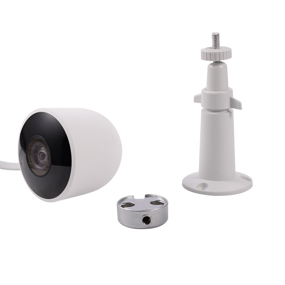 For Nest Cam Wall Mount by HOLACA Versatile Aluminum Bracket for Nest Cam Outdoor (White-Aluminum)