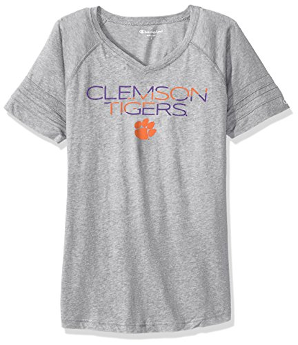 Champion NCAA Clemson Tigers Women's Triumph T-Shirt, Medium, Oxford Heather (Triumph Heather)
