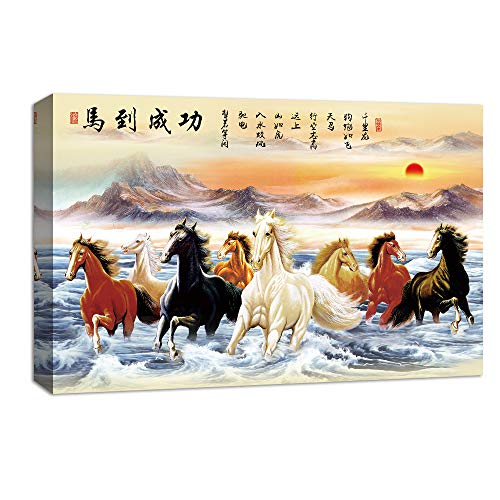 (NWT Canvas Wall Art Chinese Eight Horses Painting Artwork for Home Prints Framed - 24x36 inches)
