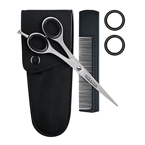 Hair scissors Professional Set - Hair Cutting Scissors Stainless Steel Kit - Hairdressing scissors with 2 pair Detachable Finger Rings and Lather Case by ELITE KATANA (Image #2)
