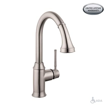 hansgrohe Talis C Premium 1-Handle 15-inch Tall Stainless Steel Kitchen  Faucet with Pull Down Sprayer Magnetic Docking Spray Head in Steel Optic,  ...