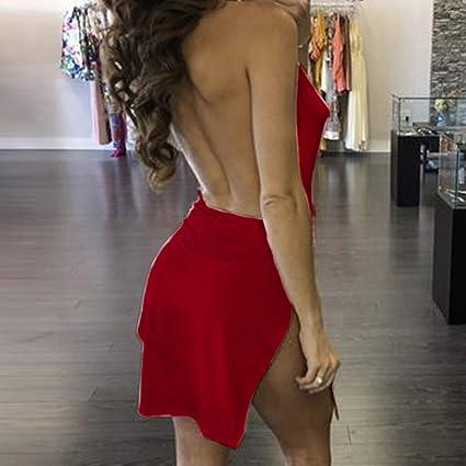 MEIbax seksowna damska koszula nocna z dekoltem w serek, bez plecÓw, mini, na imprezę, do klubu, seksowna koszula nocna: Odzież
