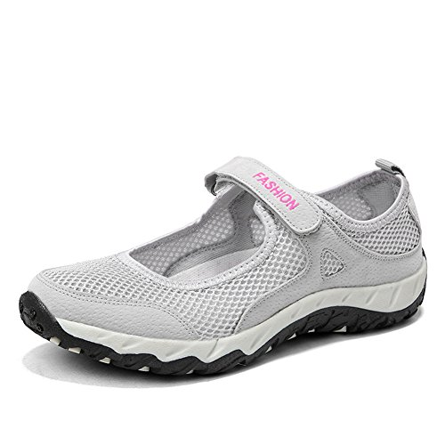 Deportivo al Aire Libre para Mujer Calzado Deportivo Antideslizante de Malla Altamente Transpirable con Velcro 34-40 EU Gris 1