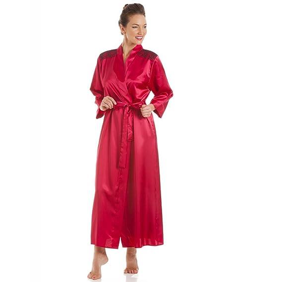 4ccf53fad36 Robe de chambre en satin - broderies - rouge noir 42 44  Camille   Amazon.fr  Vêtements et accessoires