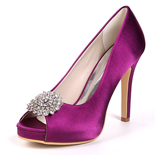 L@YC Women Wedding Shoes Bridal Toe Platform High Heels Prom/Court Shoes/Peep Toe Satin Rhinestones Purple