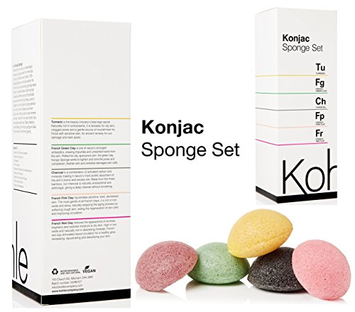 Konjac Sponge Set (5 Pack): Organic Skincare Face & Body Cleansing + Exfoliating Sponges, 100% Pure Facial & Hypoallergenic #1 UK BESTSELLER. Charcoal, Turmeric, French Green, Red & Pink Clay. ()
