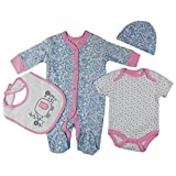Baby-Girls Elephany Paisley Theme Presents Gifts for Newborn Baby Girls Toddler Unisex Cute Clothing Sets Sleepsuit Vest Bib Hat Outfits Bundles Pack