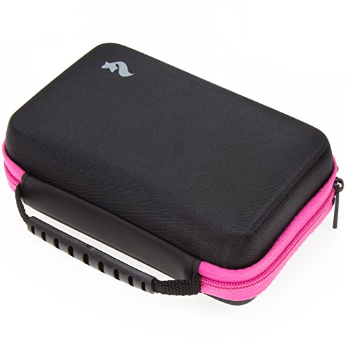 BRENDO Carrying Case for New Nintendo 2DS XL and 3DS XL with Large Stylus, Fits Wall Charger, 24 Game Cartridge Case Holder - PINK/BLACK by Butterfox