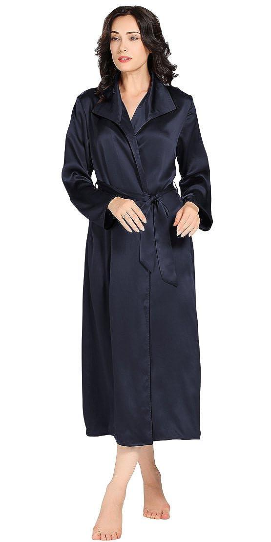 Navy bluee LilySilk Luxury Silk Robe for Women 100% Pure Silk 22 Momme