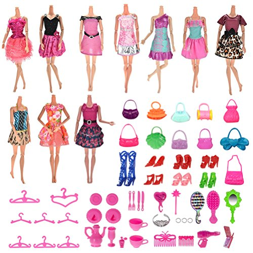 Buytra 70 Pack Handmade Doll Clothes Dresses Accessories Shoes Bags Hangers for Barbie Doll, Great for Girls' Birthday Gift