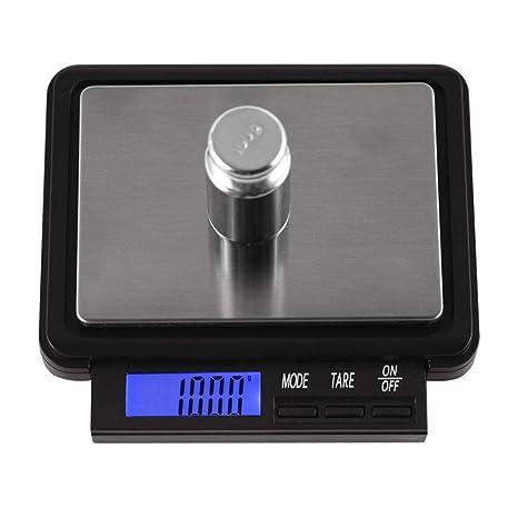 GSJJ Negro Báscula Cocina Inoxidable Peso Tara Temporizador función, Escala de Alimentos, Digital Alta