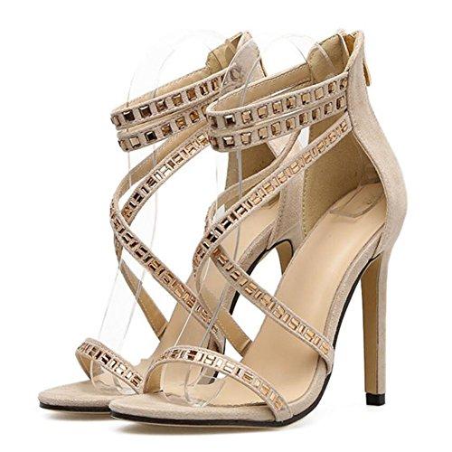 Strap Apricot Black Ankle Suede Ladies Rhinestone Heels Summer High Women Roman GAOLIXIA Court Sandals Straps Spring Cross Shoes Party Wedding Pumps Apricot A4WBfOWwq