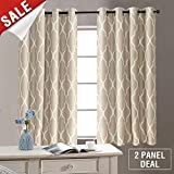 jinchan Linen Fabric Darkening Window Treatment Set for Bedroom Moroccan Tile PrintQuatrefoil Flax Linen Curtains for Living Room Curtain, 72'' L, Taupe on Flax